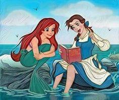 """Ariel: """"It's a whatsy-doodle!"""" Belle: """"No, it's a book."""""""