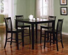 "Ashland 5 Pcs Dining Set Collection - 150231BLK Description : The Ashland collection will be a lovely addition to your casual contemporary home. The counter height dining set has simple style that will match any home in a rich Black finish to complement your decor. Choose this collection for an instant update in your casual dining and entertaining room Features : Color : Black Composition : Wood Veneers & Solids Style : Casual Dimensions :  Table : 42""L x 42""W x 36""H Chair : 16.5""W x 20""D x…"