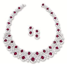 Impressive Ruby and Diamond Necklace and Pair of Matching Earrings, Sotheby's Ruby And Diamond Necklace, Ruby Necklace, Ruby Jewelry, Ruby Earrings, Diamond Pendant Necklace, Jewelry Sets, Bridal Jewelry, Diamond Jewelry, Fine Jewelry