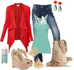 """Coral and Azul"" by k-cat on Polyvore"
