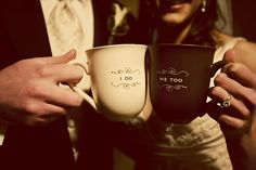 This coffee obsessed couple had a special coffee bar at their wedding reception, complete with cute custom mugs.