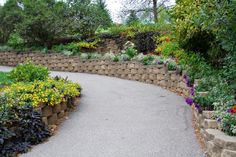 A stone retaining wall that snakes around either side of a paved pathway. Ornamental trees, flowers, and draping vines fill in and around the sides of the two terraces.