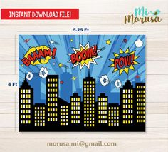 Superhero Backdrop, Superhero City, Superhero Background, Superman Party, Comic Bubble, Download Comics, Happy Birthday Banners, Birthday Wishes, Birthday Cake