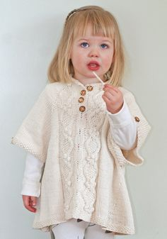Knitting pattern for Little Tourist Poncho - #ad for babies and children. Sizes 3 months to 10 years. Adorable poncho featuring a cable and blossom motif with button collar. tba child poncho