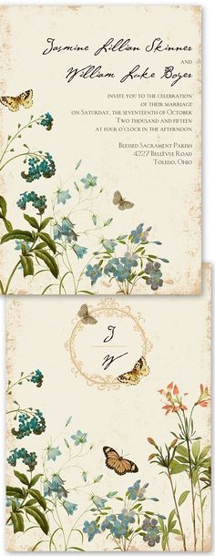 Vintage inspired flowers look lovely on a wedding invitation..