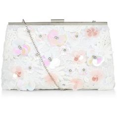 New Look White Lace 3D Flower Frame Clutch ($43) ❤ liked on Polyvore featuring bags, handbags, clutches, kiss lock handbags, flower purse, lace handbag, floral purse and white clutches