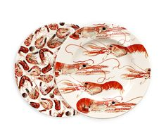Scampi, langoustine, Norway lobster, Dublin Bay prawn, whatever one calls them they are not only interesting to look at, they are all equally delicious.   The Emma Bridgewater duo of 8 ½ inch shellfish plates will make the perfect gift for the seafood aficionado … or Emma Bridgewater fan too!  Dishwasher & microwave safe; lower temperature wash and liquid detergent preferred to maintain appearance. Pottery is not oven safe unless marked as cookware. Bridgewater Potte...