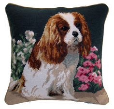 "Blenheim Cavalier King Charles Spaniel Dog - 14"" Needlepoint Dog Pillow"