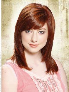 Medium Reddish Brown Hair with Fringe