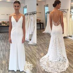 Unique Lace Open Back V Neck Affordable Online Long Wedding Dresses, BG51572