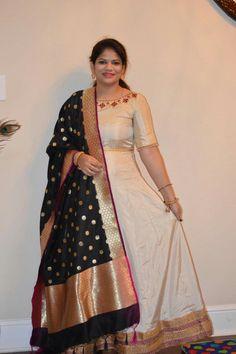 Anarkalis in georgette with Bananrasi silk dupatta. We do regular as well as plus sizes upto 6 Sari Dress, Anarkali Dress, Saree Gown, Punjabi Dress, Anarkali Suits, Indian Attire, Indian Outfits, Indian Wear, Salwar Designs