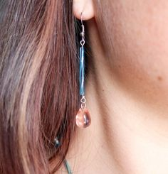 Turquoise Glass Bead earrings with pink tear drop bead by JennahsJewels on Etsy