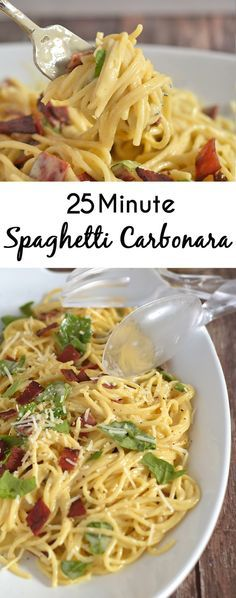 You have got to try this Pasta Carbonara Recipe- Bacon, eggs, cream and pasta come together to make this delightfully creamy, yet simple, pasta dish. Bonus: have it on the table in less than 25 minutes!