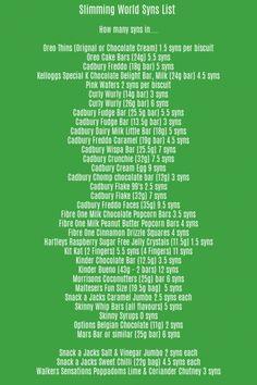 Slimming World Syns List - Descarga imprimible GRATIS - Slimming World Syns List – Descarga imprimible GRATIS Imágenes efectivas que le proporcionamos so - Sp Meals Slimming World, Asda Slimming World, Slimming World Shopping List, Slimming World Sweets, Slimming World Recipes Syn Free, Slimming World Plan, Healthy A Slimming World, Shopping Lists, Chocolate Syns