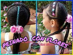 PEINADO INFANTIL CON FLORES PARA BISUTERIA/BELLO/ FACIL. - YouTube Lil Girl Braid Styles, Girls Braids, Tips Belleza, Little Girl Hairstyles, Natural Hair Styles, Makeup, Youtube, Beauty, Plaits Hairstyles