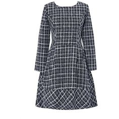 Black A-line Long Sleeve Checkered Mini Dress ($20) ❤ liked on Polyvore featuring dresses, check print dress, short a line dresses, short dresses, checkered dress and long sleeve dress