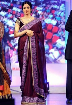 #Sridevi Style #Purple #Bollywood #Saree