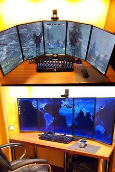 Coolest Multi-Display Computer Setups This is a cool office idea. Incensewoman More at http://atechpoint.com/ #tech #atechpoint