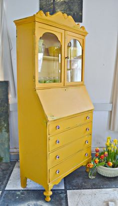 Yellow Painted China Hutch. Heir and Space: Hello Sunshine!
