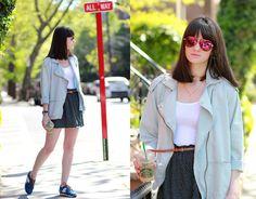 Mango Denim Jacket, Mango Skirt, Juicy Couture Sunglasses
