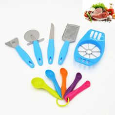 10pcs kitchen Accessories Cooking Tools Set Cheese Slicer Paring Knife Pizza Cutter Grater Apple Cutter Measuring Spoon DIY CAKE