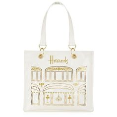 Small Harrods Windows Shopper Bag (1.885 RUB) ❤ liked on Polyvore featuring bags, handbags, tote bags, gold tote bag, perforated tote, white shopping bags, travel purse and perforated tote bag