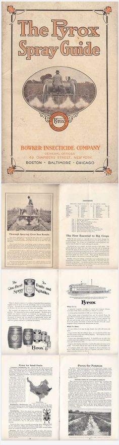 The Pyrox Spray Guide vintage 1920 Booklet Bowker Insecticide Co New York NY Agriculture Farming