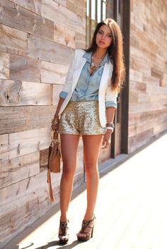 Denim button up, white blazer, sequined gold shorts. I am in LOVE with this outfit.