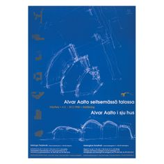 Alvar Aalto in Seven Buildings exhibition poster. The sketch drawing shows the three-part floor plan and elevation of the Church of the Three Crosses (Vuoksenniska Church) in Imatra, Finland Chinese Architecture, Modern Architecture House, Futuristic Architecture, Modern Houses, Drawing Sketches, Drawings, Zaha Hadid Architects, Santiago Calatrava, Poster Series