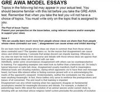 gmat awa essays list vision professional - Gre Essays Examples