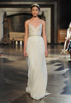 Shimmery Gold A-line Wedding Dress | Inbal Dror Wedding Dresses Fall 2015 | Maria Valentino/MCV Photo | Blog.theknot.com