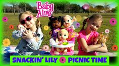 BABY ALIVE Snackin' Lily Baby Doll Eats Play-Doh Baby Alive Doll Picnic ...