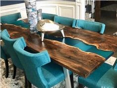 Walnut Dining Table, Walnut Coffee Table, Dining Room Table, A Table, Live Edge Tisch, Live Edge Table, Wood Resin Table, Muebles Living, Coffee Tables