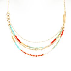 You'll fall head over heals for this multi-layered, Logan beaded necklace. This beautiful four strand multi bead necklace is earthy and polished, featuring organic colors of turquoise, coral and ivory. It's the perfect jewelry accent to show off your style savvy!