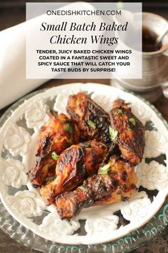 Tender, juicy baked chicken wings coated in a fantastic sweet and spicy sauce that will catch your taste buds by surprise! Full of flavor and easy to make, this chicken wings recipe will give you a small batch of chicken wings, perfect if you're cooking for yourself. Juicy Baked Chicken, Small Batch Baking, Sweet And Spicy Sauce, Taste Buds, Tandoori Chicken, Ethnic Recipes, Food, Essen, Meals