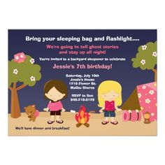 Camping Birthday Party Invitations Camping Birthday Party Invitation for Girls