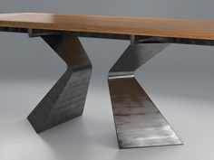 Prora Fisso model by Design Connected Wood Table, Dining Table, Interior Design Presentation, Live Edge Table, Wood Creations, Wooden Art, Table Plans, Furniture Design, Room Decor