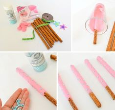 How to dip chocolate dipped pretzel gymnastics ribbon wand!