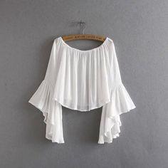 Korean Summer Fashion 2016 Women Crop Chiffon Tops T-shirt Flare Sleeve Slash neck Loose Casual Brand