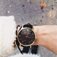 Black and gold watch