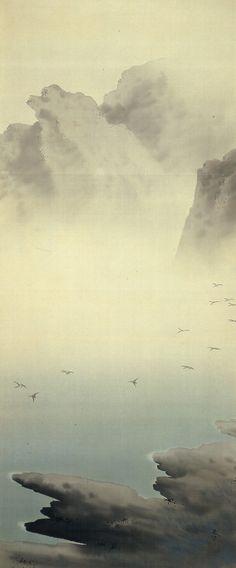 菱田春草 Shunso Hishida『湖辺飛雁』飯田市美術博物館 | IIDA CITY MUSEUM