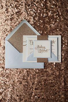 ADELE Suite Glitter Package, champagne glitter, Black Friday Wedding Invitation Sale, letterpress wedding invitation, calligraphy wedding invitation, blue and bronze