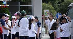 Alunos da 1ª à 4º serie da Escola Isaac Newton da cidade de Minokamo (Gifu), participaram de uma aula sobre Educação no Trânsito no Kakamigara Koen.