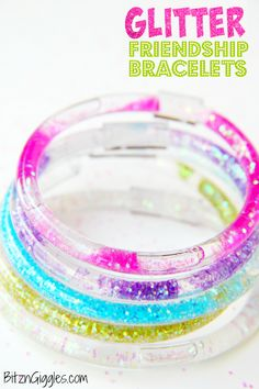 Glitter Friendship Bracelets - A full step-by-step tutorial for making your own colorful, glittery, water-filled bracelets that we all loved from the 80's! #LittleCharmers #CG @spin_master