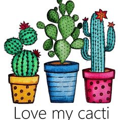 'Cute Watercolor Cacti In Beautiful Pots' by Oirabot Cactus Drawing, Cactus Painting, Watercolor Cactus, Cactus Art, Watercolor Paintings, Cactus Plants, Painted Rock Cactus, Painted Rocks, Rock Art