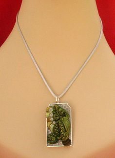 Sleeping Green Dragon Pendant Necklace Jewelry by britpoprose99, $14.99