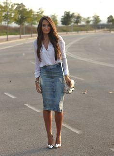 Pure Style by Erika: Denim Midi Skirt