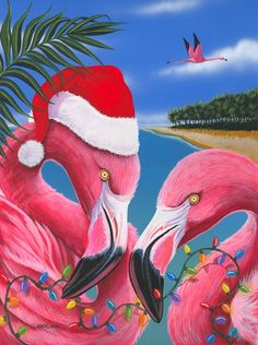 Christmas Flamingos by blackleafstudio on Etsy