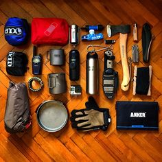 Packing up for tomorrow. #bushcraft #outdoors #coffee #espresso #bahco #laplander #gear #opinel #minipresso #edc #eno #solar #axe #husqvarna #knife #kabar #becker #bk2 #leatherman #gopro #hero4 #paracord #survival #sawyer #waterfilter