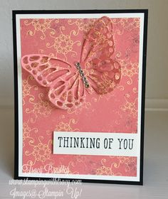 Thinking of You card featuring Stampin\' Up! Cupcakes and Carousels Designer Series Paper, Butterflies Thinlits and Window Shopping stamp set by Tracy Bradley  www.stampingwithtracy.com